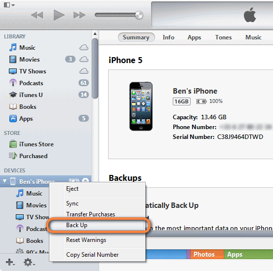 backup iPad iPhone iPod data before updating to iOS 7 using iTunes